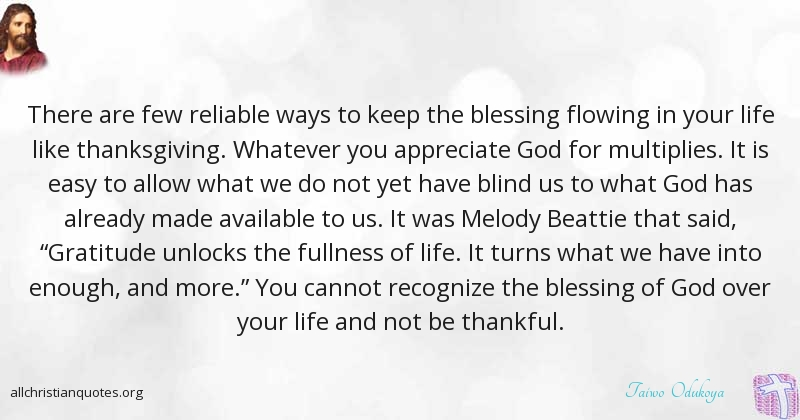 Taiwo Odukoya Quote About Appreciate Blessing Life Way